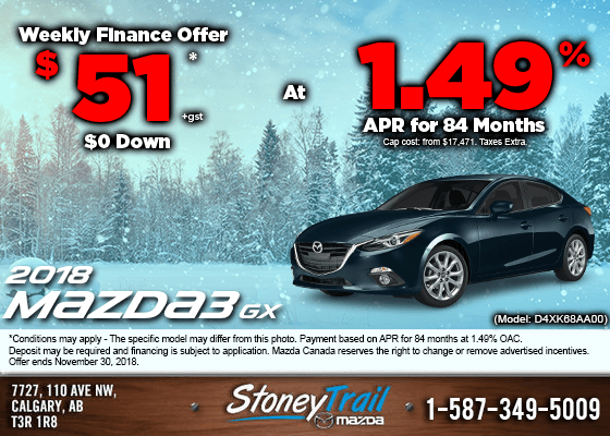 Get the 2018 Mazda3 GX Today from $51/week!