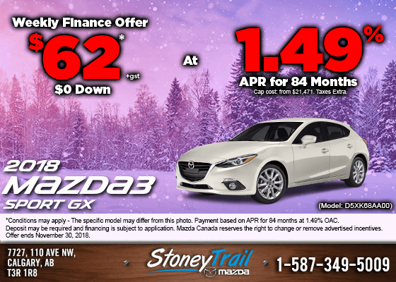 Get the 2018 Mazda3 Sport GX Today from $62/week!