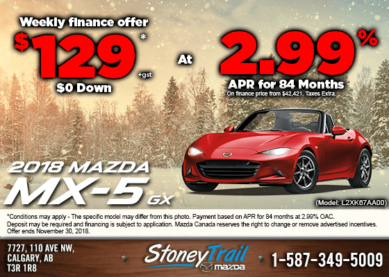 Get a 2018 Mazda MX-5 GX Today from $129/week!